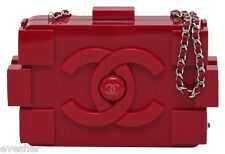 Chanel Brick Bag RED LEGO PLEXIGLASS Leather Clutch Silver HW Black Lining PEEK!