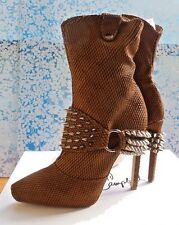 Jeffrey Campbell Santanico Leather Spikes size 6 Wheat Snake Embossed Tan Bootie