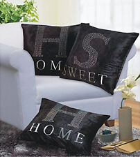 Set of 3 Black Sparkle Bling Home Sweet Home 17 inch Cushion Covers