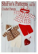 CROCHET PATTERN for BABY HOODED JACKET & TROUSERS 2 SIZES #242 ShiFio's Patterns