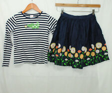 Gymboree Daisy Days Size 10 12 Girls 2 Piece Outfit Tee Skirt Blue White Striped