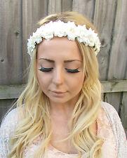 Ivory Cream Rose Flower Garland Headband Hair Band Crown Festival Boho Vtg 1875