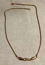 """Vintage Goldtone Metal Snake Mesh Chain textured Infinity Pendant 20"""" Necklace"""