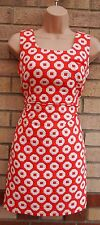 NEXT TUBE ORANGE WHITE SPOTTY POLKA DOT QUILTED PENCIL BODYCON TUBE DRESS 6 XS