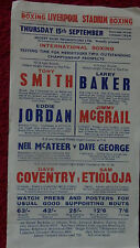 BOXING POSTER - TONY SMITH V EDDIE JORDAN - LIVERPOOL STADIUM - 1960