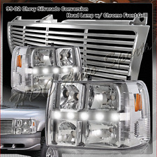 For 1999-2002 Chevrolet Silverado LED DRL Conversion Chrome Headlight + Grille