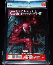 CGC 9.6 Superior Carnage #1 Marvel Comic White Pages Spider-Man