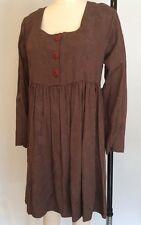 Vintage 90s Grunge Rampage Babydoll Dress Rayon Brown Long Sleeve EUC