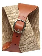 NWT Banana Republic Brown/Natural Straw Stretch Belt Size S (fits XS)