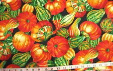 100% Cotton Fabric Black with Large Gourds in Oranges/Yellows/Creams/Greens