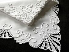 MARGHAB 16 Pc PLACEMATS NAPKINS Vintage Madeira Hand Embroidery Linen WHITEWORK