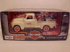 1950 Chevy Pickup 3100 Die-cast Truck 1:25 Harley Davidson 8 inch White Maisto