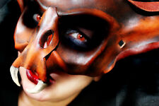Brown Vampire Bat Demon Goblin King Mask Handmade Leather Venetian Masquerade