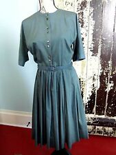 Darling Vintage 1940s 50s Teal Cotton Full Pleated Dress Silver MOP Buttons med.