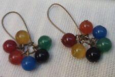 Rainbow Scottish Agate beaded Earrings Harlequin Gemstone Beaded Dangle Cluster