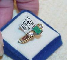 14K .60ct EMERALD SOLITAIRE DIAMOND RING New Tag $1300