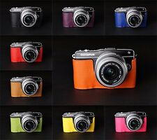 Genuine Real Leather half Camera Case Camera bag for Olympus EPM2 E-PM2 10 color