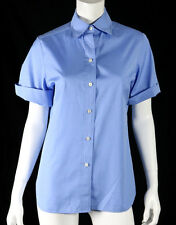 BOUCHRA JARRAR Sky Blue Cotton Cuffed Short-Sleeve Collared Blouse 40