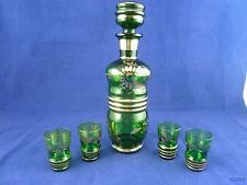 Paul's Gifts Green Glass with Gold Trim Decanter with 4 Shot Glasses Italy