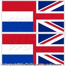 OLANDA-UK Bandiera Onda Olandese-Regno Unito Adesivi in Vinile 75mm Stickers x2