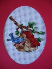 "COMPLETED FINISHED CROSS STITCH CARD ""CHRISTMAS BIRDHOUSE"""