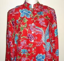 Chico's Red Silk Long Tunic Top Kimono Style Japanese Asian Print Sz 0 Small