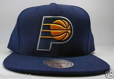 Indiana Pacers Mitchell & Ness Vintage Blue Solid Woold HWC Snapback Hat Cap NBA