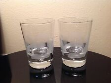 SET OF 2 BAILEYS ROCKS WHISKEY ETCHED GLASSES WITH BUBBLE BOTTOM HEAVY GLASS NEW