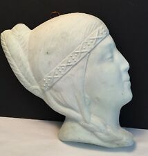 Vintage Native American Chalk Ware Bust Wallhanging Collectible