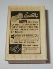 Knitters Rubber Stamp Magazine Ad Vintage Style New Yarn Parkspin Limited