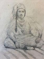 Orientaliste portrait de femme berbère Maroc Algérie fusain début XXe anonyme
