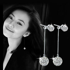 Women 925 Sterling Silver Swarovski Crystal Ball Ear Stud Long Dangle Earrings