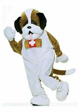 St. Bernard Rescue Dog Costume Mascot Plush Fur Adult L-XXL Men Women Tan White