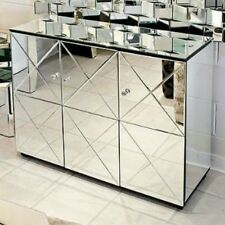 Contemporary Mirrored Venetian Glass Criss Cross Sideboard Cabinet Sideboard