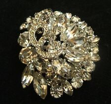 Vintage WEISS Large Tiered 2 1/4 Inch by 2 Inch Clear Rhinestone Brooch Pin
