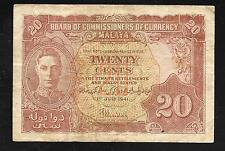 Malaya Paper Money - Old 20 Cents Note - 1941 - P9a - FINE
