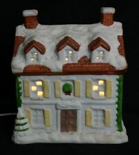 Vintage Christmas Village 6 Ceramic Different Houses with Lights