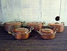 Set 5 Vintage Heavy Copper Pots with Lids Hand Hammered Copper Brass Handles