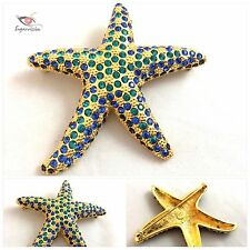 Kenneth Jay Lane KJL Gold Tone and Blue Green Rhinestones Starfish Pin Brooch