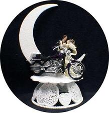Wedding Cake Topper w/diecast sexy Purple  Harley Davidson Motorcycle bike groom