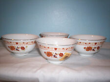Cathay Xiamen China Rice Bowls Set of 4 Brown Flowers, Gold trim