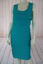 Calvin Klein Dress 8 Emerald Green Poly Spandex Pullover Bodycon Flat Ruffle HOT