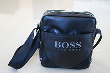 HUGO BOSS Mens Black Leather Messenger / Shoulder Bag  For Travel / Work