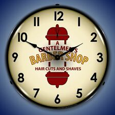 New old style A Gentlemens Barber Shop Haircuts & Shaves & pole LIGHT UP clock