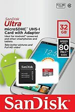 SANDISK MOBILE ULTRA CLASS 10 32GB MICRO SDHC 80MB 32G MEMORY UHS-I  ANDROID APP