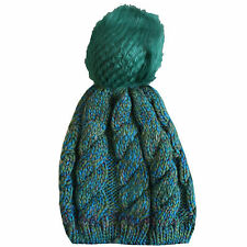 Ladies Two Tone Chunky Knitted Woolly Beanie Faux Fur Bobble Pom Pom Winter Hats