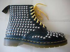 DOC DR MARTENS BLACK SILVER CHROME SPIKED STUDDED BOOTS RARE UNISEX UK6 US W8 M7