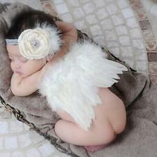 Newborn Baby Girl Boy Beige Feather Angel Wing+Flower Headband Photography Props