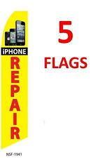 5 (five) IPHONE REPAIR 11.5' SWOOPER #3 FEATHER FLAGS BANNERS