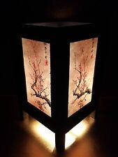 Asian Oriental Japanese Sakura Cherry Blossom Tree Bedside Table Lamp Wood Shade